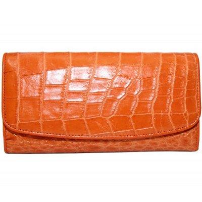 Кошелек женский из кожи крокодила коричневый PCM 03 B Orange , фото