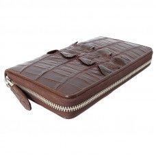 Гаманець зі шкіри крокодила коричневий ZAM 11 EX T Brown