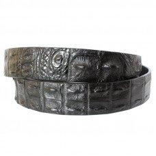 Ремінь чоловічий зі шкіри крокодила чорний 105 ALB 2R Black