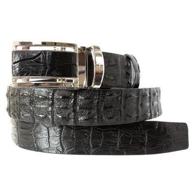 Ремінь чоловічий зі шкіри крокодила чорний 105 ALB 2R Black , фото