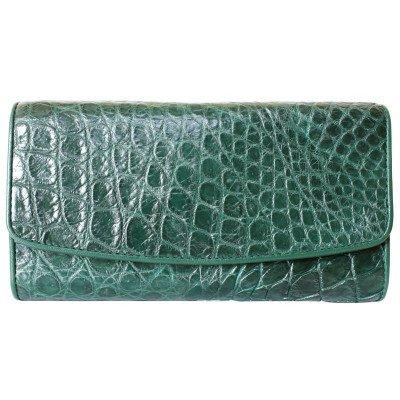 Кошелек женский из кожи крокодила зеленый PCM 03 B Emerald Green , фото