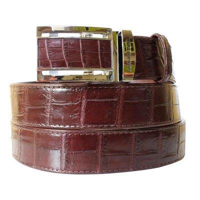 Ремень мужской из кожи крокодила коричневый 105 ALB-B Siam Belly Brown , фото