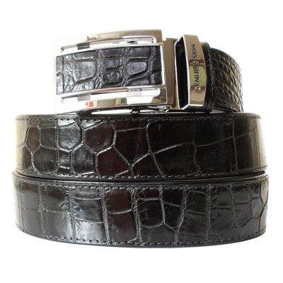 Ремінь чоловічий зі шкіри крокодила чорний 105 ALB-B Siam Belly Black