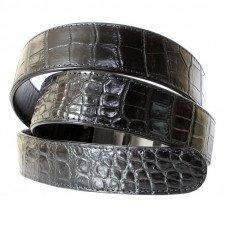 Ремінь чоловічий зі шкіри крокодила чорний 105 ALB-B Belly Black
