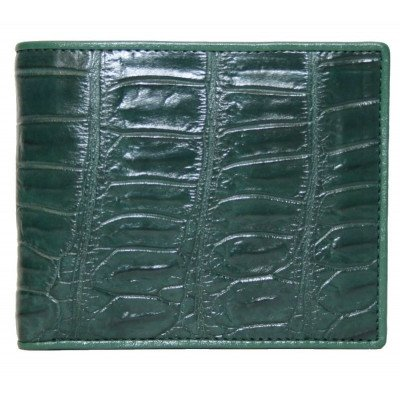Кошелек мужской из кожи крокодила зеленый ALM 03 B Green