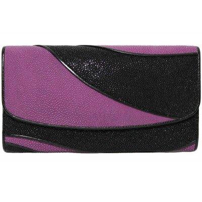 Гаманець жіночий зі шкіри ската ST 52 DC Black/Purple , фото