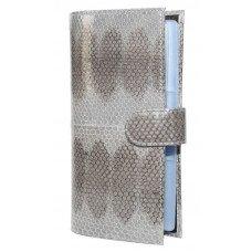 Визитница из кожи морской змеи серая SNCH 36-3 Gray