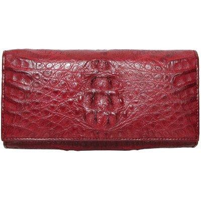 Гаманець жіночий зі шкіри крокодила червоний PCM 04 Burgundy , фото