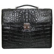 Портфель мужской из кожи крокодила черный DCM 48 Black