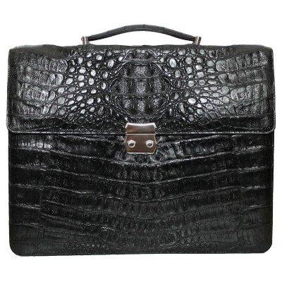 Портфель мужской из кожи крокодила черный DCM 48 Black , фото