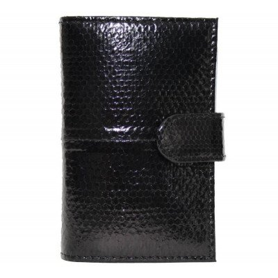 Визитница из кожи морской змеи черная SNCH 18-1 Black , фото