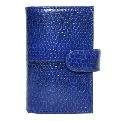 Візитниця зі шкіри морської змії синя SNCH 18-1 Dark Blue , фото