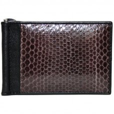Зажим для купюр мужской из кожи морской змеи коричневый SNMC 01 Brown