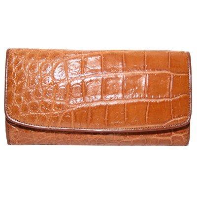 Гаманець жіночий зі шкіри крокодила коричневий PCM 03 B Golden Tan , фото