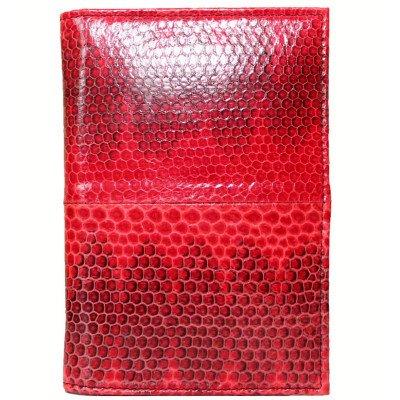 Обложка для паспорта из кожи морской змеи красная SNPH 01 Red , фото