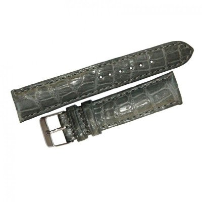 Ремешок для часов из кожи крокодила серый ALWS 01 Grey , фото