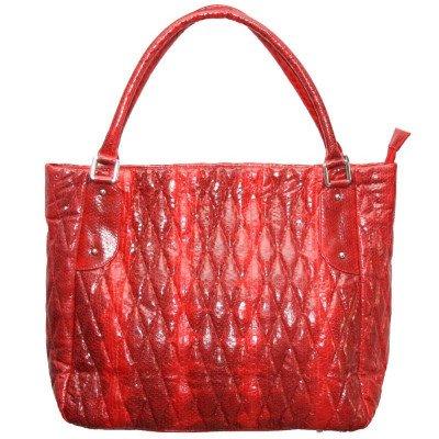 Сумка жіноча зі шкіри морської змії червона BSN 818 Fire red , фото