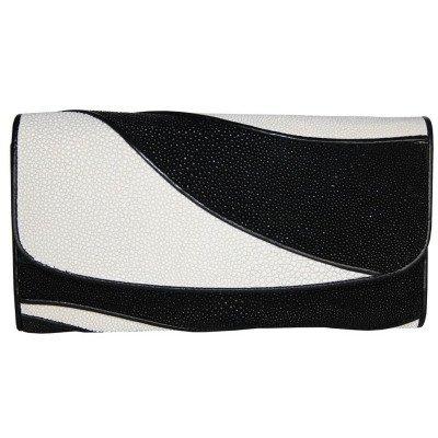 Гаманець жіночий зі шкіри ската ST 52 DC Black / White , фото