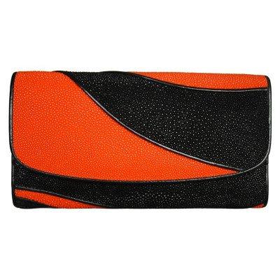 Гаманець жіночий зі шкіри ската ST 52 DC Black / Orange , фото
