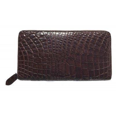 Гаманець зі шкіри крокодила коричневий ZAM 11 EX B Brown