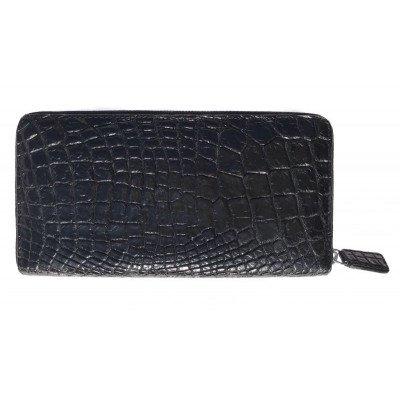 Гаманець зі шкіри крокодила чорний ZAM 11 L Black , фото