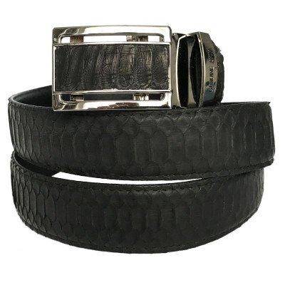 Ремень из кожи питона черный 105 PTB Belly Black , фото