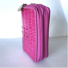 Ключница из кожи крокодила розовая ZCM 08 T Violet