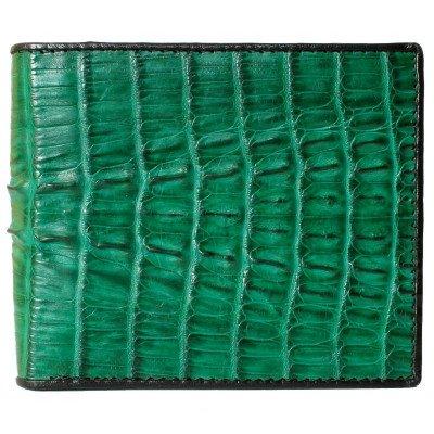 Кошелек из кожи крокодила зеленый ALM 03 T Emerald Green , фото