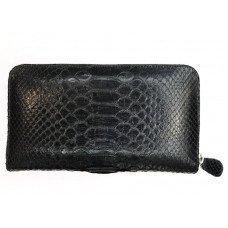 Кошелек из кожи питона черный PTWI 11 EX Black