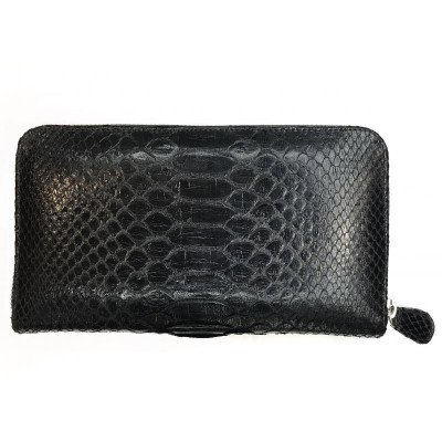 Кошелек из кожи питона черный PTWI 11 EX Black , фото