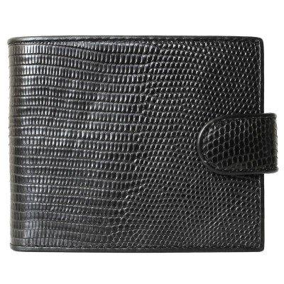 Портмоне из кожи ящерицы черное LIZ 96 Black , фото