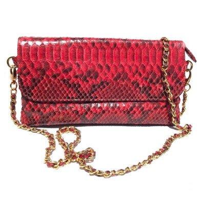 Клатч женский из кожи питона красный PT 8286 Red , фото