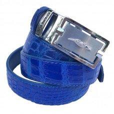 Ремень женский из кожи крокодила синий 102 ALB Belly Blue