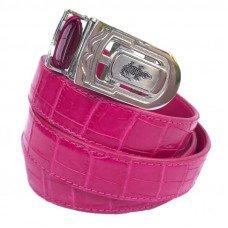 Ремінь жіночий зі шкіри крокодила рожевий 102 ALB Belly Pink