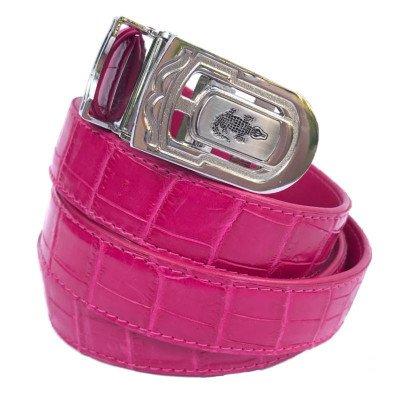 Ремень женский из кожи крокодила розовый 102 ALB Belly Pink , фото