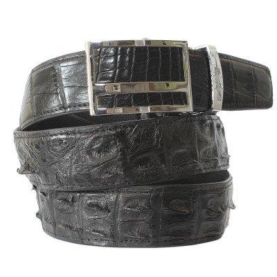 Ремень мужской из кожи крокодила черный 105 ALB F Black , фото