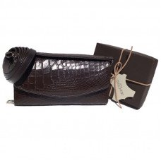 Клатч женский из кожи крокодила коричневый PCM 150 Brown