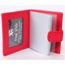 Визитница из кожи ската красная STCH 08 Fire red