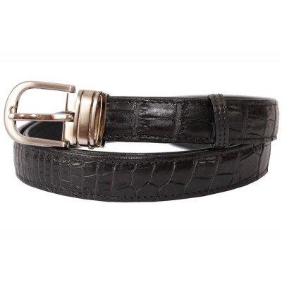 Ремінь зі шкіри крокодила чорний 102 ALB Black , фото
