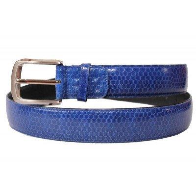 Ремінь зі шкіри морської змії синій 105 SNB Midnight Blue