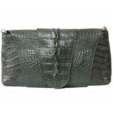 Клатч жіночий зі шкіри крокодила зелений FCM 320 Emerald Green