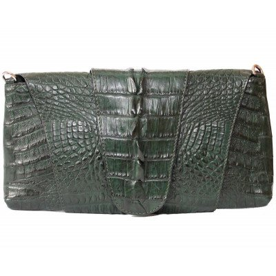 Клатч жіночий зі шкіри крокодила зелений FCM 320 Emerald Green , фото