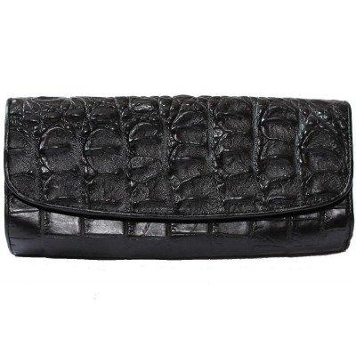 Клатч жіночий зі шкіри крокодила чорний CBM 18 T Black , фото