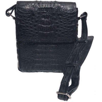 Сумка мужская из кожи крокодила черная DCM 013 H Black , фото