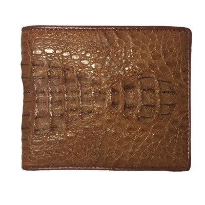 Кошелек мужской из кожи крокодила коричневый ALM 03 SK Tan , фото
