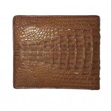 Кошелек мужской из кожи крокодила коричневый ALM 03 SK Tan