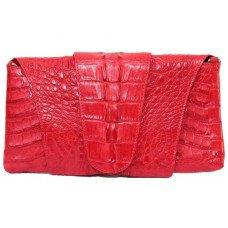 Клатч женский из кожи крокодила красный FCM 320 Fire red