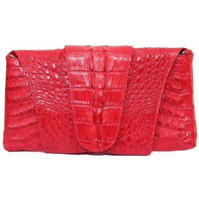 Клатч женский из кожи крокодила красный FCM 320 Fire red , фото