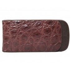 Зажим для купюр из кожи крокодила коричневый NTAM 01 Brown