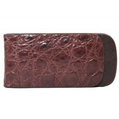 Затиск для купюр зі шкіри крокодила коричневий NTAM 01 Brown , фото